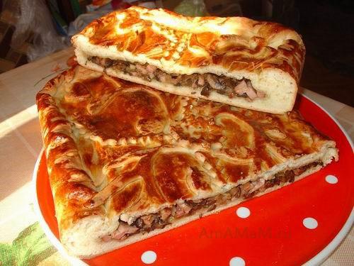 Очень вкусный грибной пирог с ветчиной!