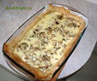 Французский грибной пирог с мясом в нежной сметанно-сырной заливке называется Киш - очень вкусное и сытное блюдо!