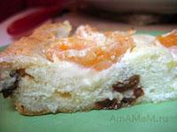 Пирог из творога с мандаринами и изюмом