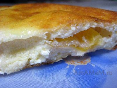 Творожная запеканка с начинкой из мандарина на срезе