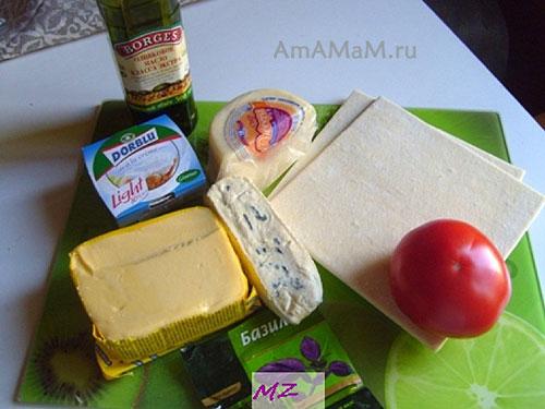 Состав продуктов для выпечки вкусных слоеных треугольников из готового теста