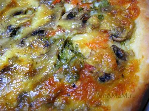 Очень вкусная грибная пицца с помидорами и сыром!