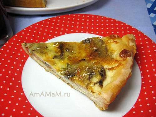 Вкусная пицца из грибов с сыром и помидорами!
