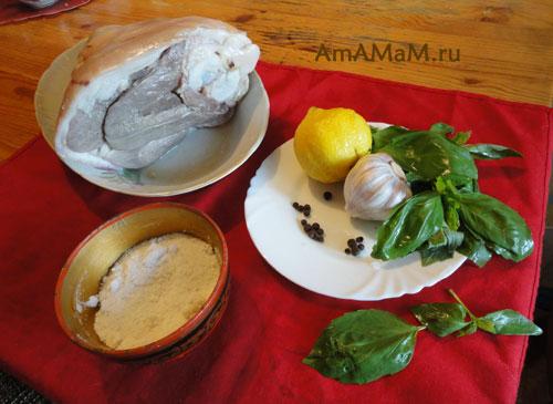 Состав продуктов для запекания голяшки в духовке