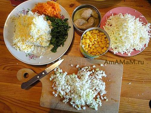 Состав продуктов для приготовления салата из печени трески - Янтарный браслет