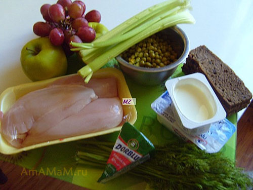 Из чего готовится вальдорфский - уолдорфский салат с курицей