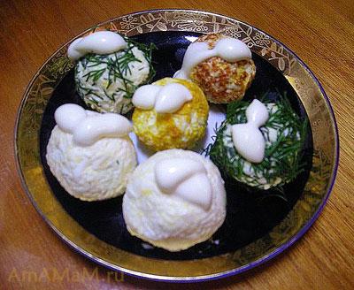 Шарики сырного салата