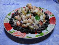 Очень вкусный и простой фасолевый салат с сельдью!