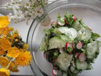 Вкусные рецепты: простой салат из огурцов с редиской!