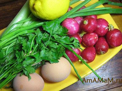 СОстав продуктов для приготовление редиски с яйцами и зелеью
