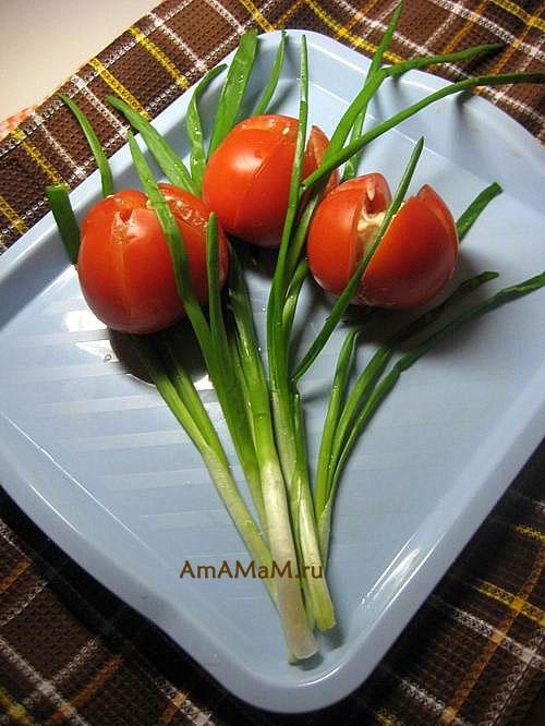 Как сделать тюльпаны из помидоров или перца - рецепт с фото