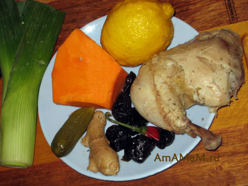 Состав продуктов для салата из тыквы и курицы