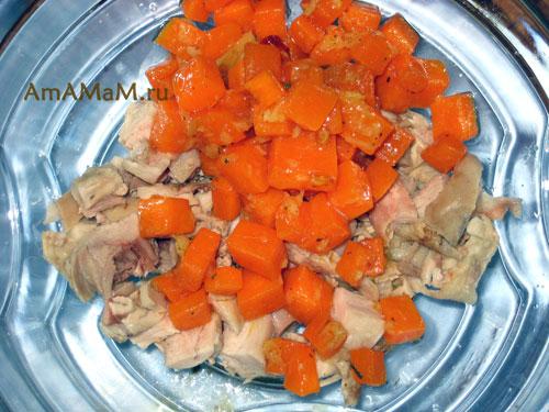 Способ приготовления вкусного салата с тыквой и мясом