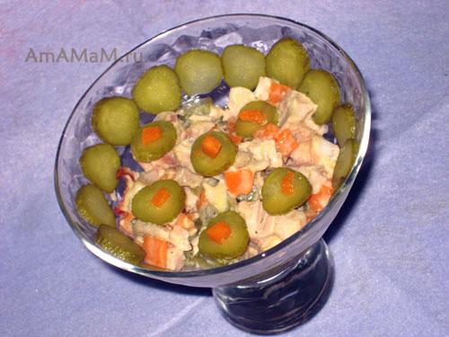 Куриный салат с тыквой - рецепт