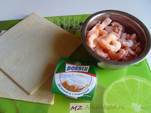Из чгео приготовить закуску с креветками и сыром