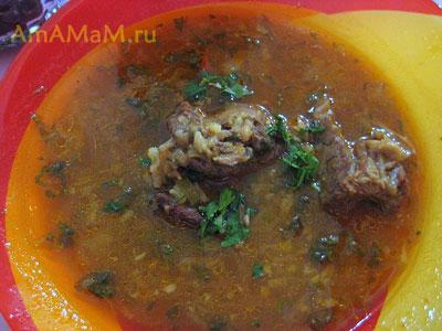Замечательный острый, жирненький, сытный кавказский суп с бараниной!