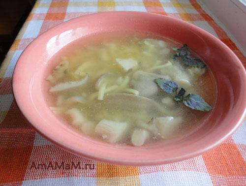 Суп-лапша с вешенками - очень вкусный домашний супчик!