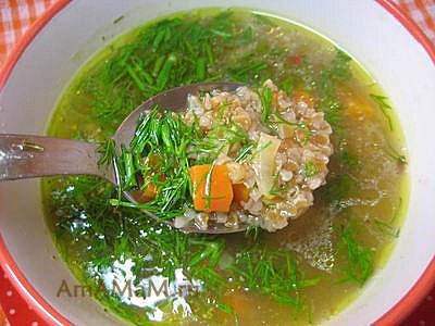 Миска супа с пшеничной крупой
