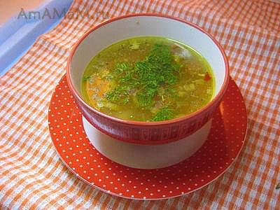 Очень вкусный пшеничный суп на курином бульоне