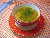Очень вкусный куриный суп с крупой (пшеничной), специями и овощной заправкой