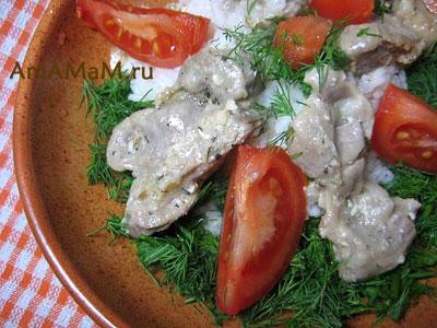 Вкусные куриные пупки, тушеные в йогурте