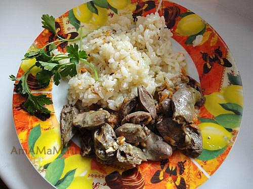 Как приготовить вкусный ужин из куриных сердечек с рисом