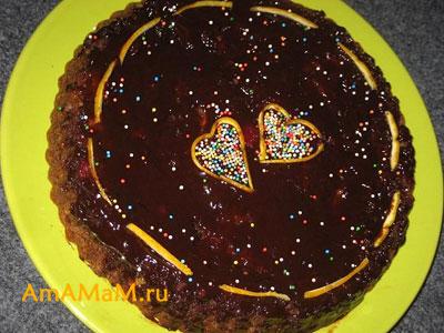 Украшаем торт сердечками