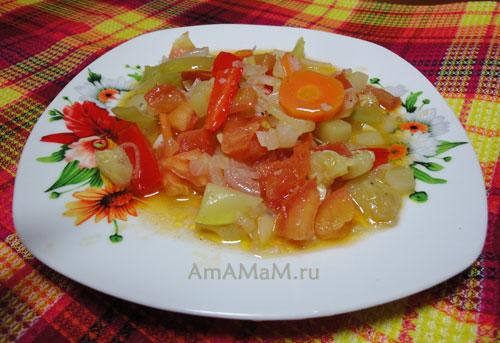 Как приготовить овощное рагу из перца, кабачков, помидоров и морковки с луком и чесноком