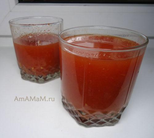 Рецепт вкусного томатного сока домашнего изготовления!