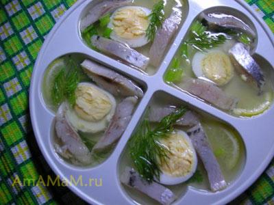 Вкусная оригинальная закуска из селедки - сельдь в желе