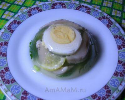 Желе из селедки с яйцом, лимоном и зеленью