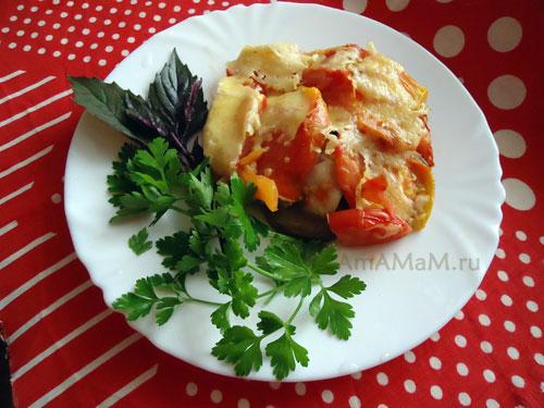 ЧТо приготовить из баклажанов, помидоров и перца - простой рецепт легкой запеканки!