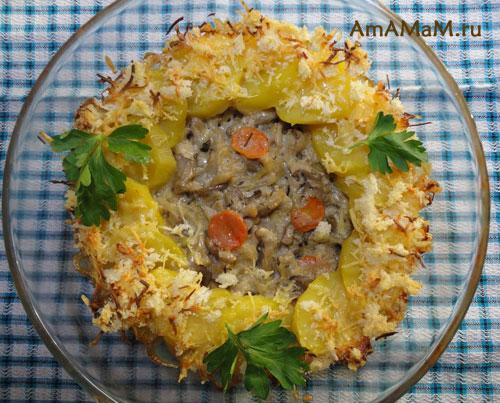 Вкусная картошка с грибами запеченная в духовке