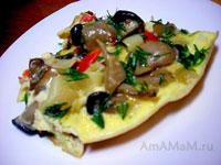 Запеканка, омлет с лапшой, грибами-вешенками, луком и помидорами